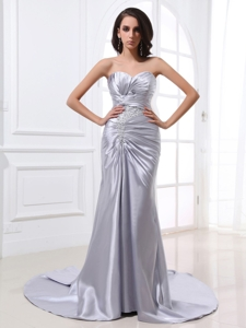 Silver Custom Made Prom Dress With Ruched Bodice Beading and Satin