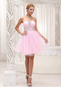 Beaded Up Bodice Lovely Baby Pink Prom / Cocktail Dress Strapless With Mini-length