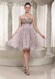 Knee-length Sweetheart Leopard And Organza Prom Dress