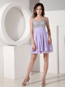 Lilac Empire Strap Mini-length Chiffon Beading Prom / Cocktail Dress