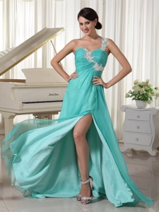 Turquoise Appliques Decorate One Shoulder and Bust Sexy Prom Dress With High Slit Chiffon and Elasti
