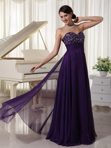 Sweetheart Chiffon Purple Prom Evening Dress Appliques With Beading Bust Empire
