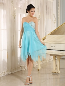 Aqua Sweetheart Short Homecoming Dress With Beaded Decotate In Abbeville Alabama