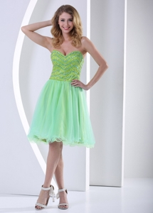 Beaded Decorate Bust Yellow Green Sweetheart Knee-length Cocktail Dress With Organza In