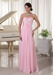 Sweetheart Beaded Prom / Evening Dress Chiffon and Satin Baby Pink