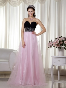 Pink And Black Sweetheart Floor-length Taffeta And Tulle Beading Prom Dress