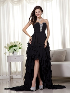 Black Sweetheart High-low Chiffon Beading Prom Dress