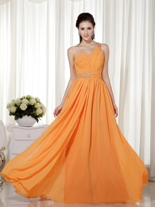 Orange Red Column / Sheath One Shoulder Floor-length Chiffon Beading Prom Dress