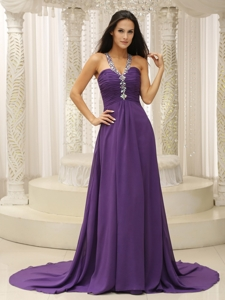 V-neck Beaded Decorate Shoulder Ruched Bodice For Modest Dress In New Jersey