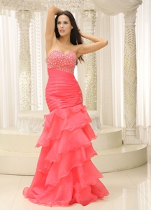 Mermaid Sweetheart Beaded Decorate Bust Ruched Bodice And Layers Prom Dress Customize
