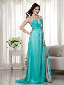 Turquoise Empire One Shoulder Brush Train Silk Like Satin and Chiffon Appliques Prom Dress
