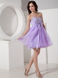 Beautiful Lilac Princess Sweetheart Homecoming Dress Organza Beading Mini-length