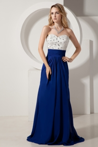 White and Royal Blue Homecoming Dress Column Sweetheart Beading Brush Train Chiffon