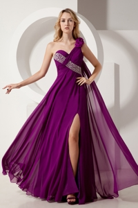 Dark Purple Empire One Shoulder Floor-length Chiffon Beading Prom Dress