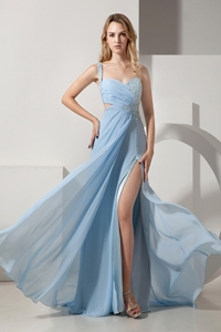 Light Blue Prom Dress Empire One Shoulder Brush Train Chiffon and Elastic Woven Satin Beading and Ru