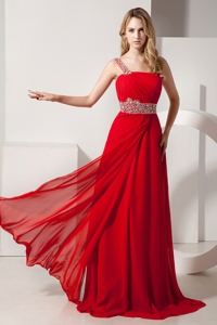 Red Empire One Shoulder Brush Train Chiffon Beading Prom Dress