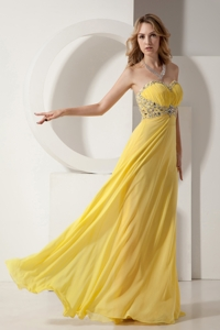 Beautiful Yellow Sweetheart Chiffon Prom Dress with Silver Beading