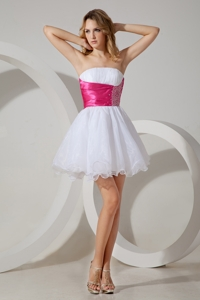 White Pricess Strapless Cocktail Dress Beading Organza Mini-length