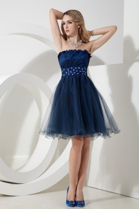 Navy Blue Princess Strapless Knee-length Organza Beading Prom Dress