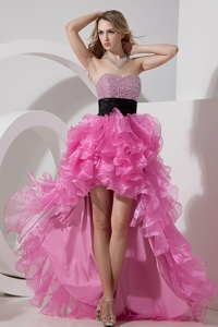 Rose Pink Princess Prom Dress Sweetheart High-low Organza Beading
