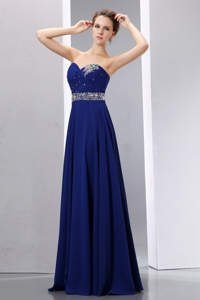 Best Royal Blue Empire Sweetherart Prom Dress Chiffon Beading Floor-length