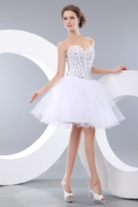 Lovely White Short Prom Homecoming Dress Pricess Sweetheart Mini-length Organza Beading
