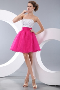 Pretty Hot Pink Pricess Strapless Beading Short Prom Homecoming Dress Mini-length Organza