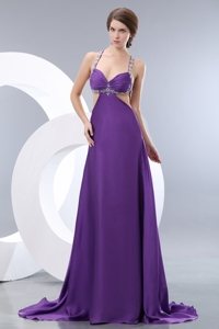 Classical Purple Empire Straps Evening Dress Elastic Woven Satin Beading Brush Train