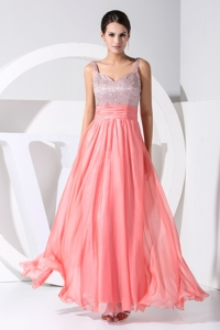 Strape Sequin And Chiffon Ankle-length Cool -beck Prom Dress