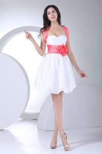 White Mini-length Straps Prom Dress for Girls with Handmade Flower