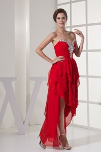 Ruffled Layers Beading and Ruching Sweetheart High Low Prom Gown