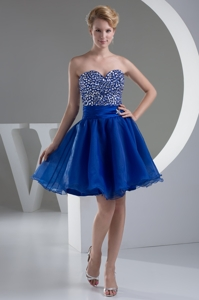 Sweetheart Mini-length Royal Blue Prom Dress With Beaded Bodice