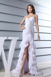 Beading White Sweetheart Mermaid Brush Train Beautiful Prom Dress
