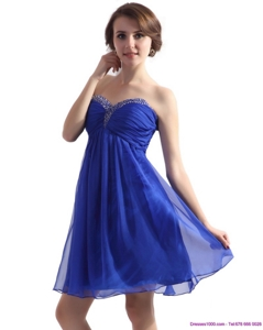Sweetheart Ruffled Blue Prom Dress With Beading