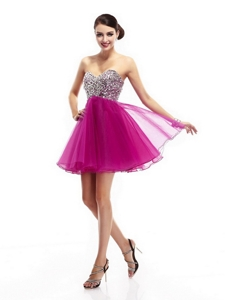 Beautiful Fuchsia Sweetheart Prom Dress With Rhinestone