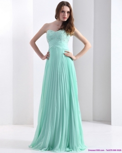 Brush Train Apple Green Prom Dress With Beading And Pleats