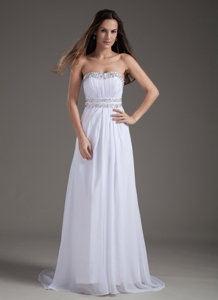 White Empire Strapless Brush Train Chiffon Beading Prom Dress