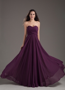 Popular Bridesmaid Dress Sweetheart Empire Dark Purple Ruching Chiffon