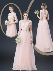 Lovely Empire Bateau Prom Dress With Appliques And Bowknot