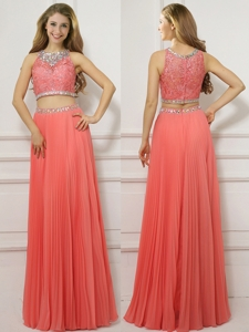 Two Piece Scoop Empire Beaded Prom Dress in Watermelon Red