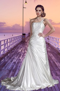Column One Shoulder Court Train Cheap Wedding Dress With Appliques