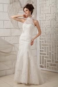 Customize Mermaid High-neck Brush Train Lace Appliques Wedding Dress