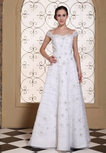 Off The Shoulder Elegant Empire Wedding Dress Embroidery With Beading Over Skirt