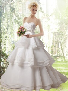Romantic A Line Brush Train Ruffled Layers And Beading Wedding Dress With Strapless