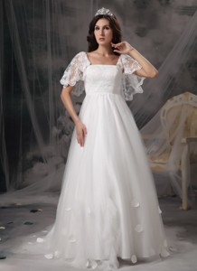 Perfect Empire Square Court Train Tulle and Lace Appliques Wedding Dress