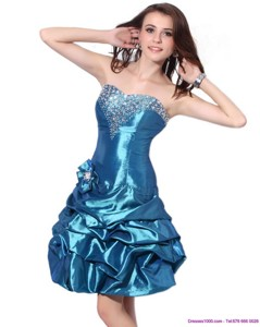Beading Strapless Prom Dress With Pick Ups And Hand Made Flower