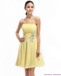 Strapless Mini Length Prom Dress With Ruching And Rhinestones