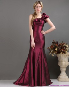 Brand New One Shoulder Prom Dress With Brush Train