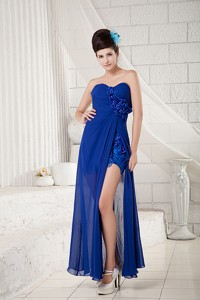 Sexy Peacock Blue Empire Sweetheart Prom Dress Ankle-length Chiffon Appliques