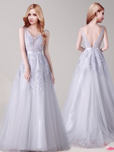 Exquisite V Neck Tulle Silver Prom Dress with Appliques and Belt